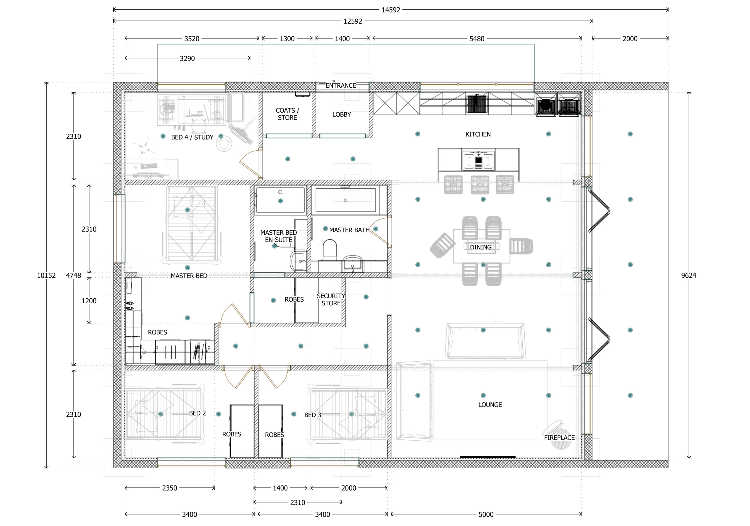 4 bed container home plans