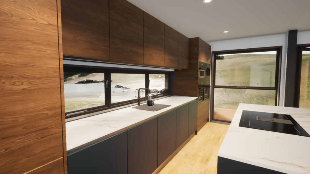 Shipping container home interior design Kitchen
